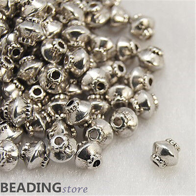 100pcs Antique Silver Colour Tibetan Style Bicone Spacer Beads Findings 5x4.5mm
