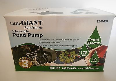 Little Giant 566608 PE-1F-PW Submersible Pond Pump 170 GPH with 15ft Cord