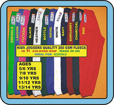 Kids Joggers, Bottoms  In 10 School Colours Ideal For Leisurewear, Gym & Sports