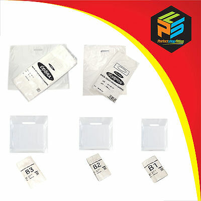 Patch Handle Carrier Bags Plain White Gift Retail Market Shopping Plastic Strong