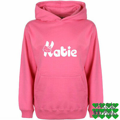 Personalised Hello Kitty your name  Kids Hoodie girls top Jumper Ages 3 - 13