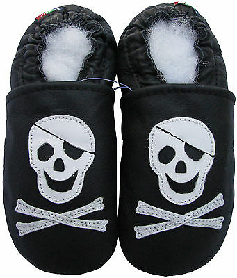 ✿ CHAUSSONS BEBE CUIR SOUPLE CAROZOO NEUF (pirate) ✿