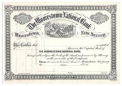 18-- the Moorestown National Bank New Jersey Banking Stock Certificate