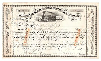 1857 Michigan Southern & Northern Indiana Railroad Co. Stock Certificate 12782