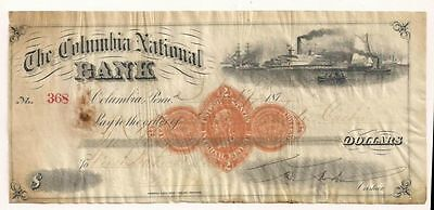 1873 Columbia National Bank, Pennsylvania Check No. 368