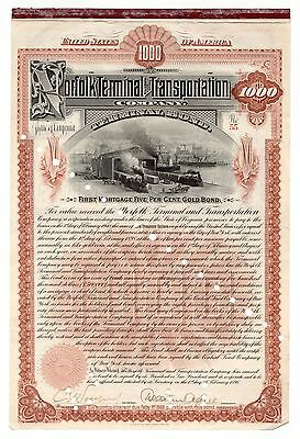 1898 Norfolk Terminal & Transportation Co. Virginia Gold Bond Certificate No. 55