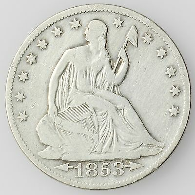 1853-O New Orleans Mint Seated Liberty Half Dollar Large Silver Coin [2258.01]