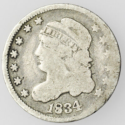 1834 Large 4 Capped Bust Half Dime Small Silver Coin [2254.04]