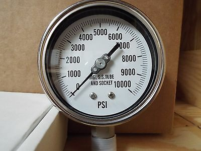 """0-10000PSI 4"""" All Stainless Lower Mount Dry But Fillable Pressure Gauge"""