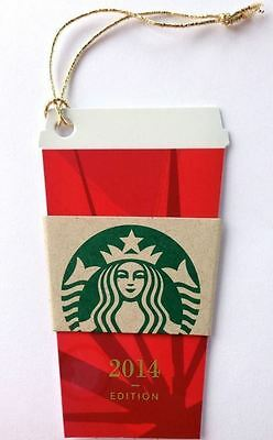 Adorable STARBUCKS 2014 Christmas Mini Red Cup Gift Card Die cut keychain