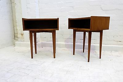Pair of Small TEAK SIDE TABLES/ BEDSIDES -  Retro Mid Century Eames Style