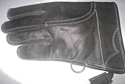 Children Nubuck Leather Glove 2 Layers Double Skinned Falconry Child Glove Black