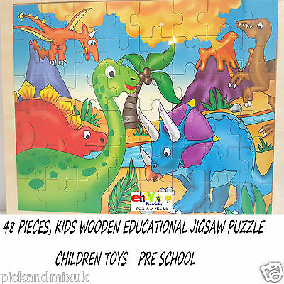 Children Wooden Jigsaw Educational Colourful Dinosaurs Puzzle Pre School