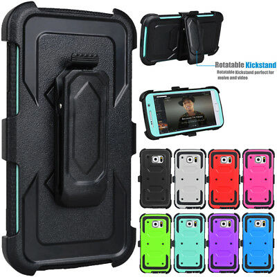 For Samsung Galaxy S6 Holster Belt Swivel Clip Shockproof Hybrid Phone Hard Case