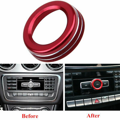 Red Volume Knob Decorative Ring Trim Cover for Mercedes Benz W176 W246 W212 W166