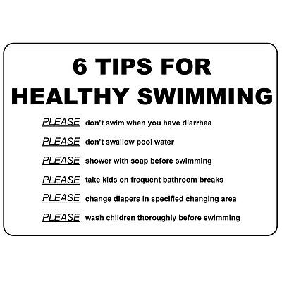 6 Tips For Healthy Swimming Don'T Swim When Diarrhea Aluminum Metal Sign
