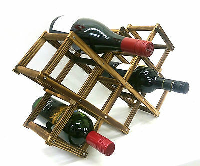 Wooden Foldable Wine Rack Bottle Holder Shelf For 10 Bottles
