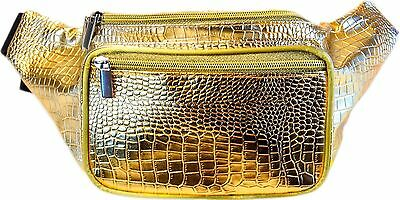 SoJourner Bags Metallic, Shimmery Sheen Reptile Fanny Pack (Gold)