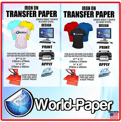 Iron-On T-Shirt Transfer Paper 10 x Dark + 10 X Light  Heat Transfer Paper