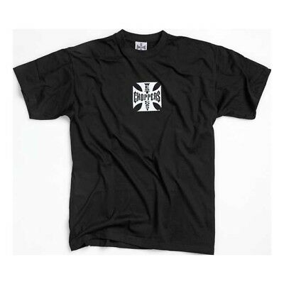 West Coast Choppers Original Cross T-Shirt In Black - White Logo *100% GENUINE*