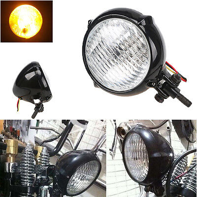 "4.5"" Vintage Motorcycle Headlight Bullet Halogen Lamp For Harley Cafe Racer"