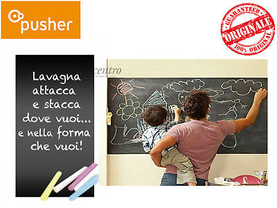 Pusher Back To School Lavagna Adesiva Muro Nera Con 4 Gessi Colorati 45X200 Cm