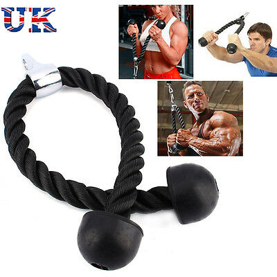 Arm Rope Tricep Multi Gym Cable Push up Pull Down Press Bar Attachment Fitness