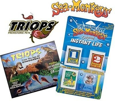 Triops Pet Eggs Packet &/or Instant Life Sea Monkey Kit Prehistoric Creatures