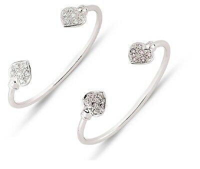 925 Sterling Silver Children's Baby Cubic Zirconia Heart Christening Bangle