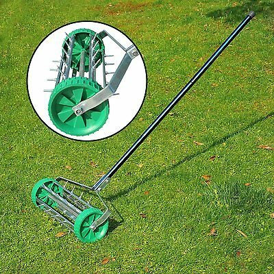 Heavy Duty Rolling Grass Outdoor Garden Lawn Aerators Roller With 3Steel Handles