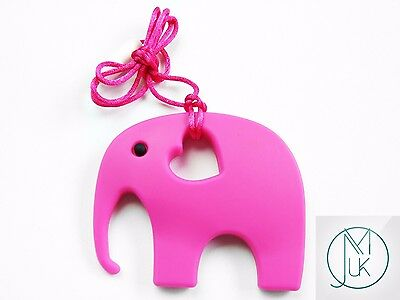 Silicone Baby Teething Necklace Pendant Elephant Mum & Baby Jewellery 14 Colors