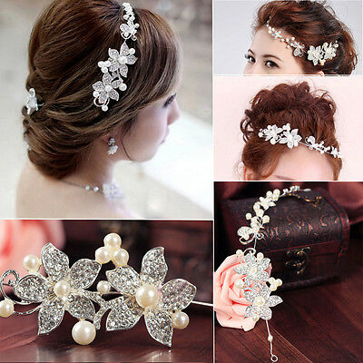 Silver Crystal Pearls Flower Hair Pin Wedding Bridal  Hairpin Clip Headband Comb
