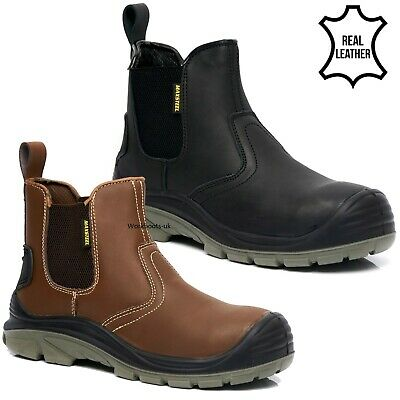 Mens Dickies Lightweight Chelsea Steel Toe Cap Safety Dealer Boots Work Shoes Sz