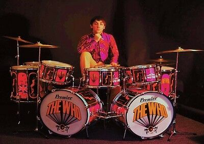 A Young Keith Moon The Who Drum Set Pose Poster