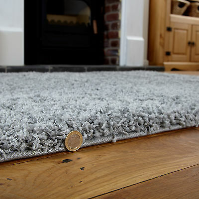 Modern Medium Silver Grey Colour Rug - Thick 5Cm High Pile Luxurious Shaggy Rugs