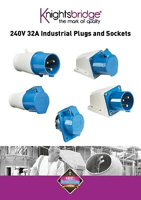240V 32A 3Pin Blue Industrial Plug & Sockets IP44 Camping, Caravan, Industrial
