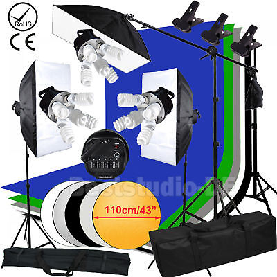 Photo Studio Continuous Lighting Kit Umbrella Light Stand 225W Bulb Lamp Set UK