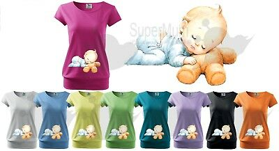 Maternity Pregnancy Funny T-shirt Top Baby Shower Gift Peeking Baby Sleeping