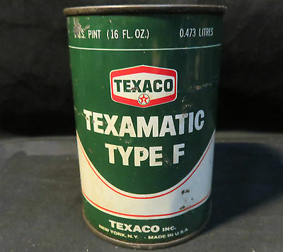 Vintage Texaco Texamatic Type F Tin 16oz Unopened