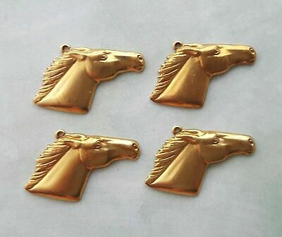 Raw Brass Horse Head Stampings With Ring (4) - GB6889-1R Jewelry Finding