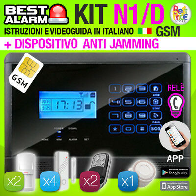Antifurto Kit N1D Allarme Casa Wireless Combinatore Gsm Antijamming