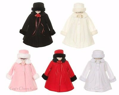 New Girls Fleece Coat Winter Christmas Fur Trim Baby Toddler Fall Wedding Kids