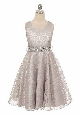 New Flower Girl Silver Dress Christmas Pageant Wedding Formal Birthday Party