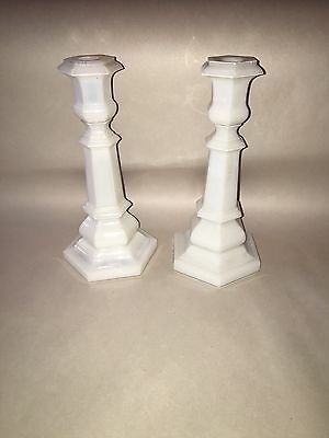New England Glass Co. Pressed Fiery Opalescent Candlestick Pair Ca. 1860