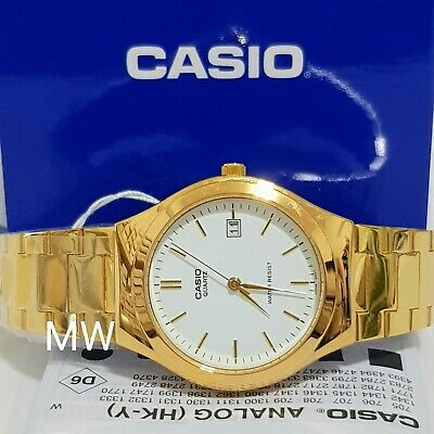 New Casio White Dial Gold Tone Stainless Steel Analog Men Watch MTP-1170N-7A