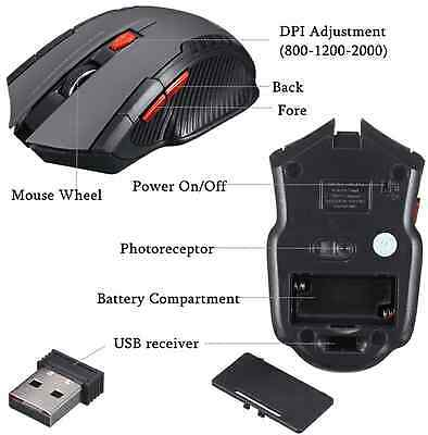 Premium 2000 DPI Wireless Pro Gaming 2.4G Mouse Mice for PC Laptop