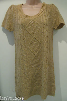 Camel Coloured Wool Bland Tight Knitted Short Dress (NEW)-UK Size 12