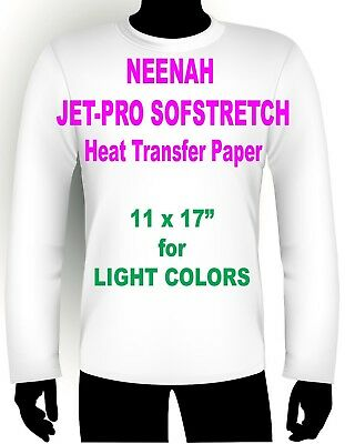 "INKJET IRON ON HEAT TRANSFER PAPER NEENAH JETPRO SOFSTRETCH 11 x 17"" - 12 PK"