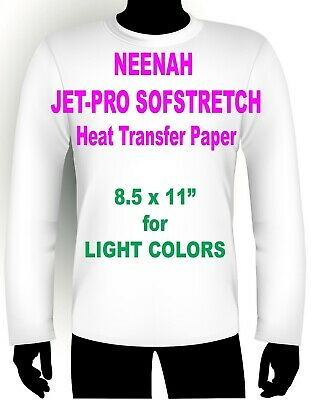 "Jet Pro Sofstretch Inkjet Heat Iron On Transfer Paper 8.5 X 11"" - 20 Sheets"