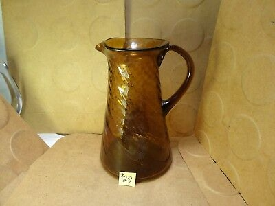"Blenko Swirl/Twist Optic Glass Pitcher, 4 1/2"" Tall, Amber Brown (Used/EUC)"